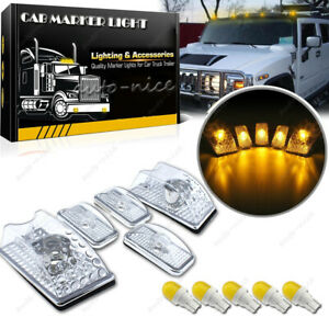 5pc Top Clear Lens Cab Marker Light W Amber Yellow Led Bulb For 03 09 Hummer H2