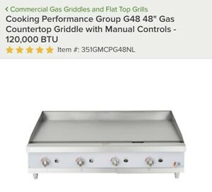 48 Cooking Performance Group Commercial Gas Countertop Griddle New In Crate