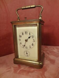 Large Frech Carriage Clock Hour An Half Hour Strike With Alarm Engraved