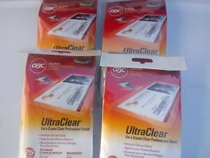 Gbc Swingline Lot Of 4 Ultraclear Badge Id Size Laminating Pouches W clip 25 Pac