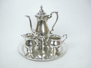 Sterling Silver Vintage Hunt Watson Coffee Pot Service 4pc Tray Creamer Sugar