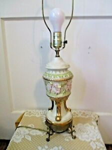 Vintage Capodimonte Style Porcelain Table Lamp 27 Tall Finial To Brass Base