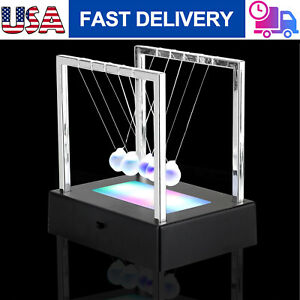 Newtons Cradle Fun Glass Balance Balls Physics Science Desk Toy Led Light Gifts