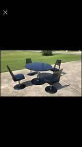 Vintage Mcm Mid Century 70 S Htf Tulip Kitchen Table And Chairs Lucite Vinyl
