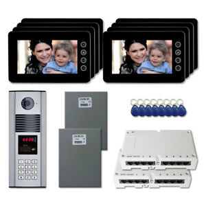 Office Building Door Entry Video Intercom System Kit With 8 7 Color Monitors