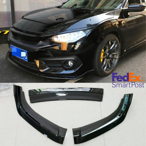 3x Front Bumper Chin Diffuser Lip Body Kit For Honda Civic 2016 2018 Gloss Black