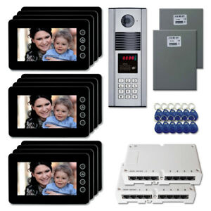 Office Building Door Entry Video Intercom System Kit With 12 7 Color Monitors