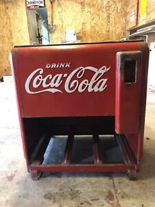 Vintage Coca-Cola Embossed Full Sized Ice chest/Cooler w/ Opener 1940's
