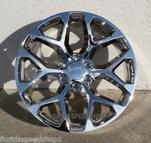 Chrome Snowflake Gmc Sierra Chevy Truck Wheels 22x9 Wheel Set 98 18 Silverado