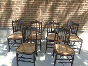 Vintage Hitchcock Style Cane Chairs 6