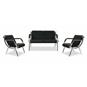 Waiting Room Chair Reception Pu Leather Office Airport Bench Guest Sofa Seat