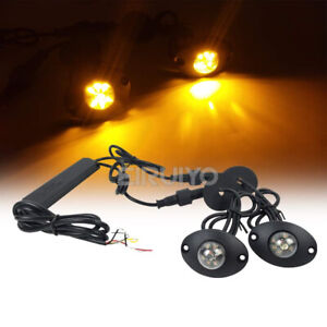 2in1 12w Led Hide Away Emergency Patrol Car Vehicle Warning Strobe Lights Amber