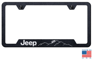 License Plate Frame Off Road Mountain Terrain For Jeep premium Stainless Steel