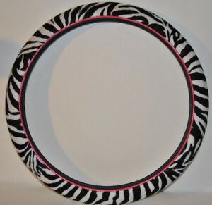 Zebra Steering Wheel Cover Smooth Grip Black And White With Pink Trim