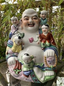 Large Vintage Antique Chinese Porcelain Happy Laughing Buddha With Five Kids