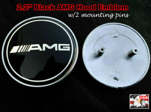 2 2 Black Amg Front Hood Emblem W 2 Mounting Pins For Mercedes Benz 57mm