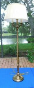 4 Light Antique Vintage Stiffel Brass Floor Lamp With Stiffel Shade