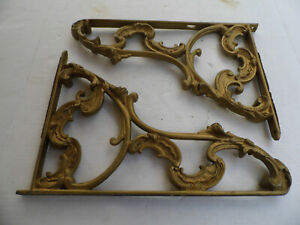 Vintage Pair Of Cast Iron Gold Gilt Shelf Brackets Large 17 X 12
