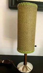 Vintage Plastic Basket Weave Shade Small Lamp Atomic Mid Century Modern Green