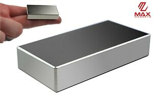 Max Magnets Super Strong N52 Neodymium Large Block Magnet 2 x1 x3 8 Rare Earth