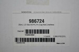 New Case Of 1000 Wheaton Plastic Ls Lab Vials W Caps Linerless 986724 20ml