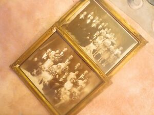 Old Two Marriage Photos And Antique Gilt Gesso Ornate Wood Frame