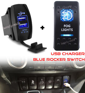 Fog Light Blue Led Toggle Rocker Switch 5pin On off Dual Usb Charger Voltmeter