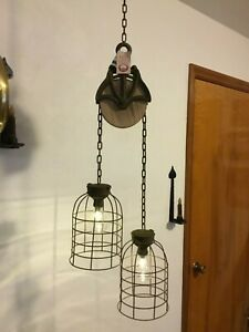 Primitive Country Distressed Style Led Timer Lights Pendant Dome Pulley Cage