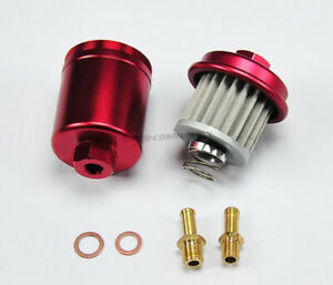 Red High Flow Racing Performance Washable Fuel Filter For 95 00 Honda Civic