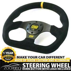 Universal 320mm 13in Black Suede Leather Flat Steering Wheel Drift Rally Yellow