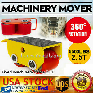 Heavy Duty Fixed Machinery Skate Roller Mover Cargo Trolley W 2 Roller 5500lbs