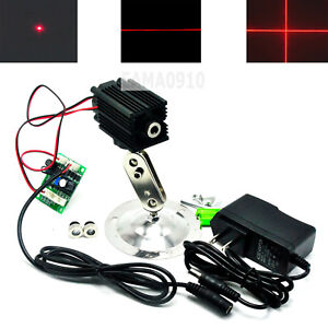 Focusable 650nm 100mw Dot line cross Red Laser Diode Module W 12v Adapter holder