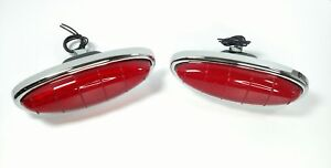 Pair Led Tail Light Assemblies For 1949 1950 Ford Car complete Bezel Housing