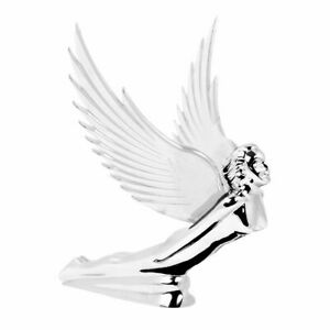 Flying Goddess Hood Ornament Chrome W Clear Lighted Wings