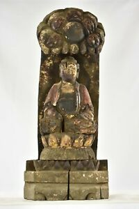 Antique Chinese Red Gilt Wood Carved Statue Buddha Kwan Yin Qing Dynas 19th C