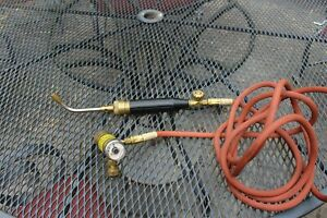Turbo Torch Acetylene Msa 8 Tip Regulator 12 Hose Great Condition Tested