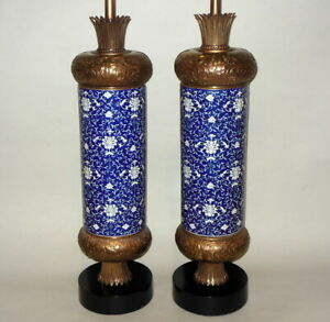 Fabulous Tall Pr Chinese Asian Enamel Porcelain 36 5 Lamps Blue White Vtg