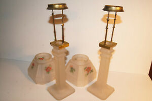 Old Antique Frosted Glass And Brass Candle Stick Lamps With Shades Hand Painted