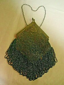 French Antique Edwardian Beaded Purse W Sterling Silver Handle Chain