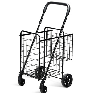 Folding Shopping Cart Basket Rolling Utility Trolley Grocery Laundry Travel New