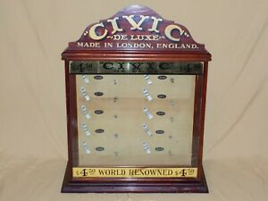 Rare Antique Store Counter Top Tobacco Pipe Display Civic De Luxe London England