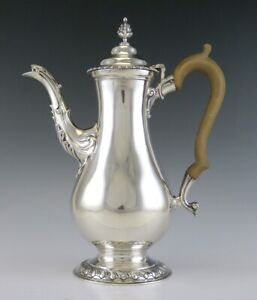 Antique 1937 English Sterling Silver Wood Tall Coffee Or Tea Pot Georgian Style