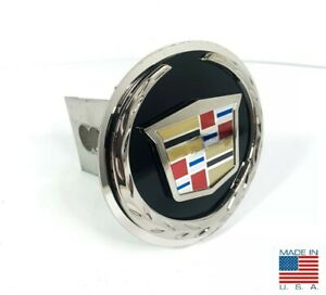 Black Chrome Cadillac Emblem Trailer Tow Hitch Cover Stainless Steel 2 Plug