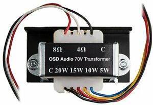 Commercial 70v Transformer Tap 8 4 Ohm 20w 15w 10w 5w Osd Audio Sp70 home Stereo