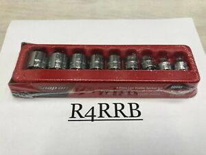 New 9pc Snap on Tools Usa 3 8 Drive Sae 12 Point Low Profile Socket Set 209rf