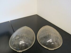 Antique Auto Gas Glass Headlight Lenses Covers With One Frame