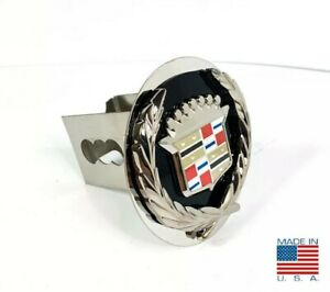 Black Chrome Cadillac Emblem Tow Hitch Cover Stainless Steel 2 Trailer Plug