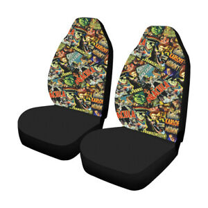 Vintage Horror Movies Car Seat Covers Dracula Frankenstein Print 2 Front Seats