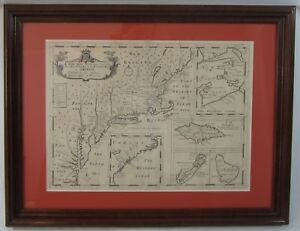 Antique Map New England Colonies New York Massachusetts Carolina Plantation 1722