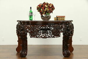 Chinese Vintage Carved Rosewood Marble Console Table 31710